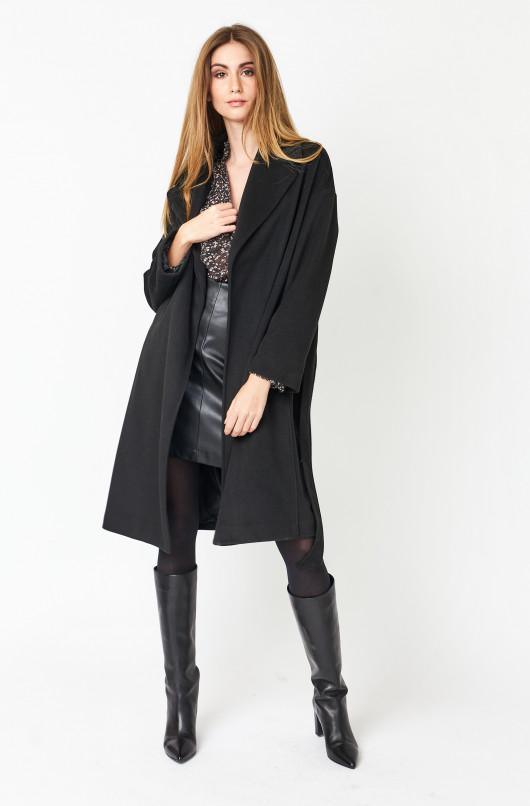 Manteau uni col châle